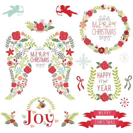 Floral Angel Wing Christmas Elements Illustration