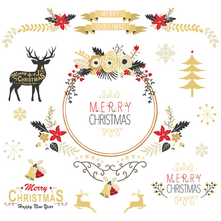 christmas gold: Vintage Gold Christmas Elements