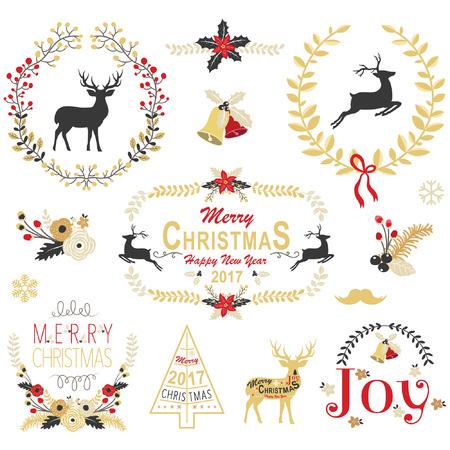 coronas de navidad: Colección del marco del oro de la guirnalda de la Navidad