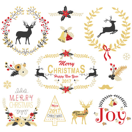 wreaths: Gold Christmas Wreath Frame Collection Illustration