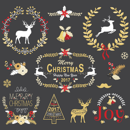 black board: Gold Christmas Chalkboard Wreath Frame Collection Illustration