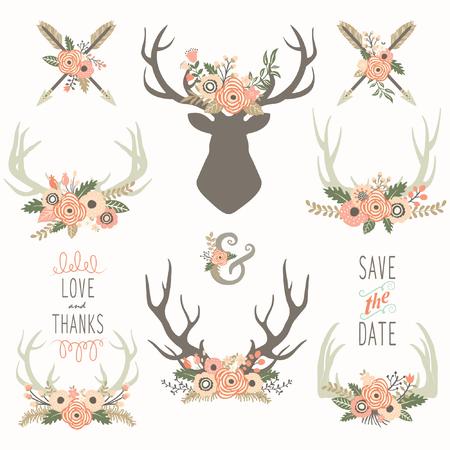Flower Antlers Collections Ilustração Vetorial
