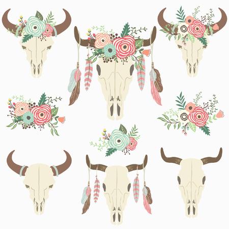 花部族バイソンの頭蓋骨 - 母の日および多く間引き部族、花、バレンタインのための完璧な。