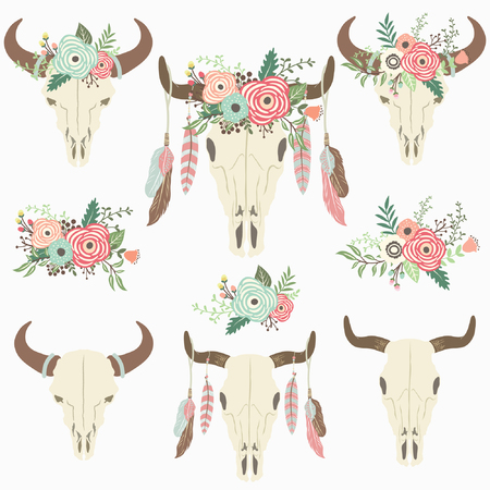 Floral Tribal Bison Skull - Perfect for Weeding, Tribal, Floral, Valentines, Mothers day and many more.