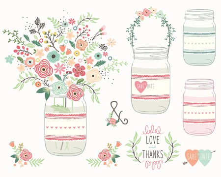 結婚式の花の石工の瓶