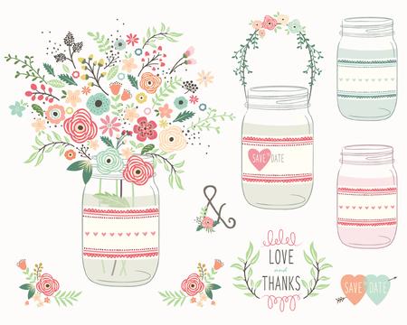 frasco: Mason Jar boda flor