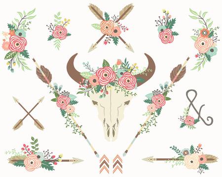 etnia: Cráneo del bisonte floral tribal Vectores