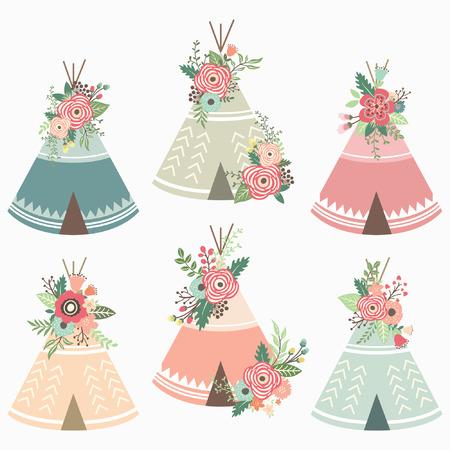 Elementos florales de teepee Foto de archivo - 74519452