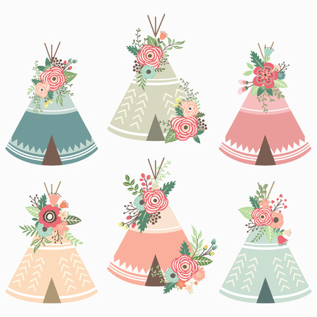 Floral teepee elements Stock Vector - 74519452