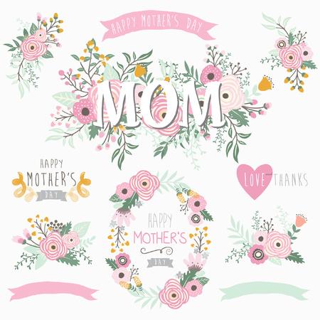 family: Lovely mothers day element. Illustration