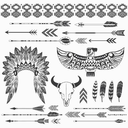 部族のインディアン民族コレクション  イラスト・ベクター素材