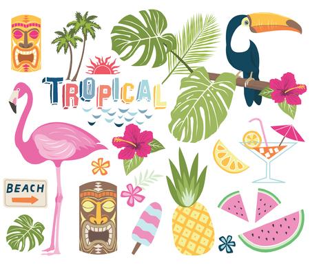 Colección de vectores tropicales Foto de archivo - 82052939