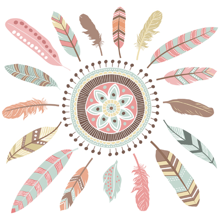 Tribal Feathers Mandala Elements Illustration