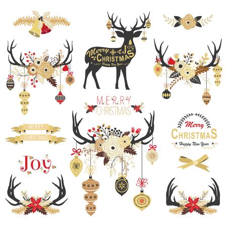 Léments de bois d'or floraux de Noël Banque d'images - 89954975