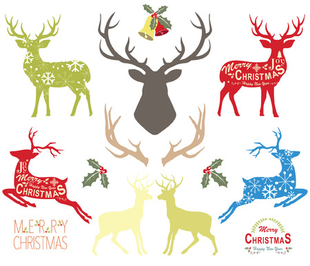 Christmas reindeer elements vector illustration