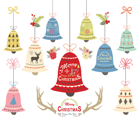 Christmas bell ornament collections vector illustration