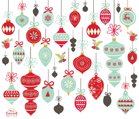 Christmas ornament collections vector illustration