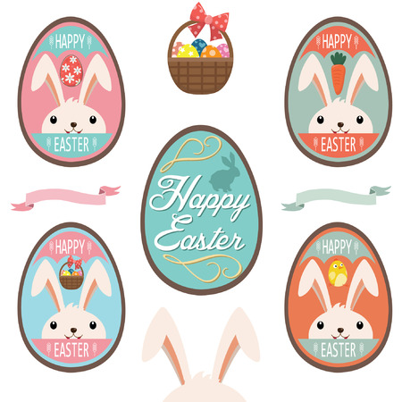 Cute Easter Bunny Eggs Vector illustration.