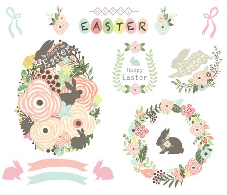 Floral Easter Egg Elements Vector illustration.