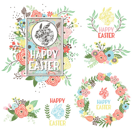 Easter Greeting Collection Set with colorful flowers Vector illustration. Stock Illustratie