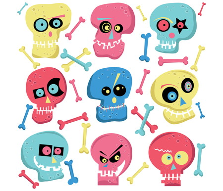 Colorful Cute Skull Elements