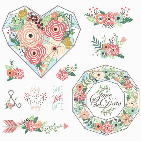 Flower Heart Elements Stock Illustratie