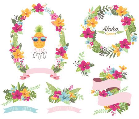 Summer Floral Wreath Stock Illustratie