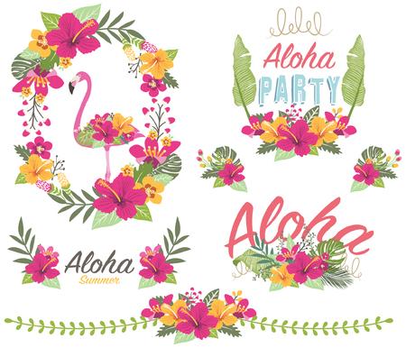 Aloha Floral Flamingo 向量圖像