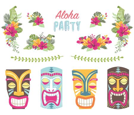 Hawaiian Floral Tiki Elements