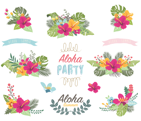 Tropicana Summer Flower Elements Illustration
