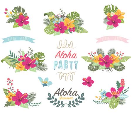 Tropicana Summer Flower Elements Stock Illustratie