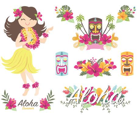 Aloha Flower Hawaiian Girl Tiki God