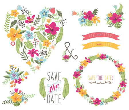 Tropical Floral Wedding Heart Shape