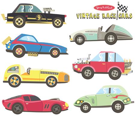 Vintage Race Car Collections Stock Illustratie