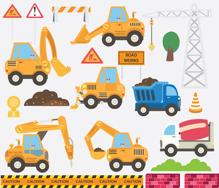 Cute Construction Transportation Set Stock Vector - 106638456