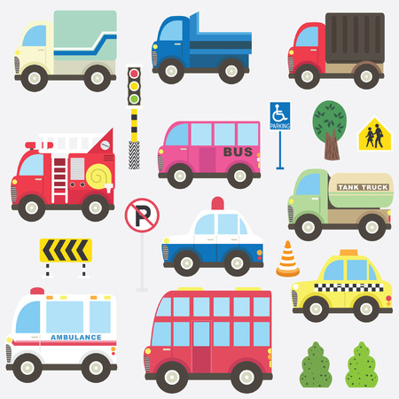 Cute Transportation Collection Set