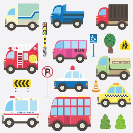 Lindo conjunto de colección de transporte Ilustración de vector