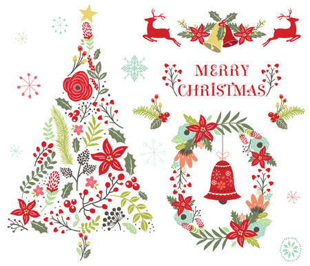 Floral Christmas Tree Ornament Stock Illustratie