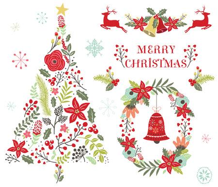 Floral Christmas Tree Ornament Illustration