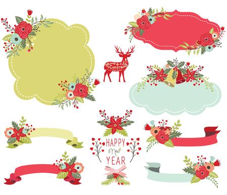 Floral Christmas Frame Elements