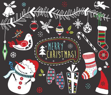 Chalkboard Christmas Elements Set Archivio Fotografico - 111490602