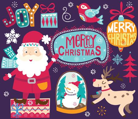 Christmas Santa Ornaments Collections Stock Illustratie
