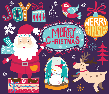 Christmas Santa Ornaments Collections Illustration