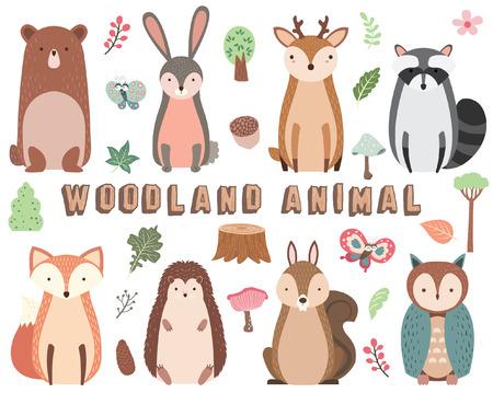 Conjunto de elementos de animales del bosque Ilustración de vector