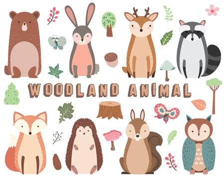 Woodland Animal Elements Set 向量圖像