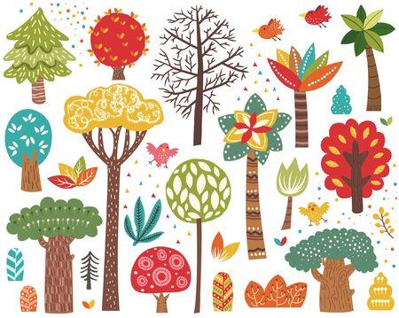 Cute Colorful Tree Elements Set