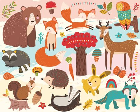 Cute Woodland Animal Element Set