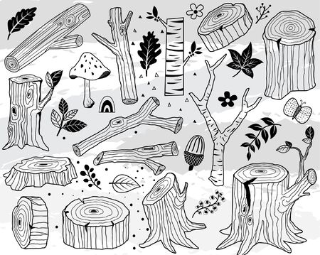 Hand Draw Nature Wood Logs Elements