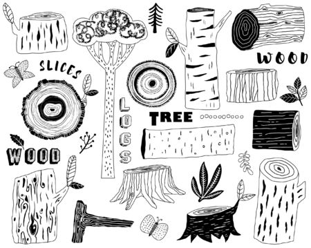 Hand Draw Wood Logs Elements