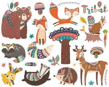 Conjunto de colecciones de animales tribales del bosque